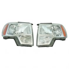 09-14 Ford F150 Chrome Halogen Truck Headlight Pair (simple performance)
