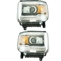 14-15 GMC Sierra Headlight (w/o LED) LH & RH Pair