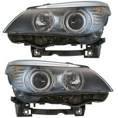 08-10 BMW 528i; 535i; 550i Halogen Headlight LH & RH Pair