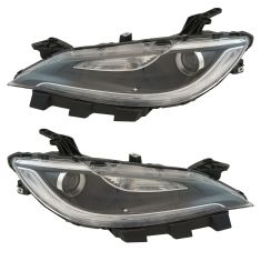 15-17 Chrysler 200 (w/o Daytime Running Lights) Chrome Bezeled Halogen Projector Headlight Assy PAIR