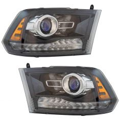 13-17 Ram 1500-3500 Black Bezel w/Chrome Trim Ring Bi Functional Projector Halogen Headlight PAIR