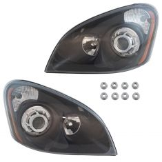 08-16 Freightliner Cascadia Performance Projector Headlight w/Black Bezel PAIR