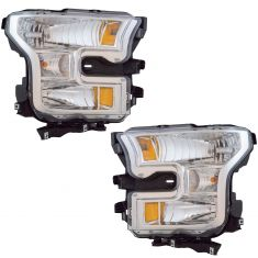 15 Ford F150 Halogen; 16-17 F150 Halogen Headlight w/Chrome Background Pair