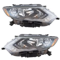 17-18 Nissan Rogue Halogen Headlight Pair