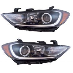 17-18 Hyundai Elantra Halogen Headlight (w/ LED Accent) LH & RH Pair