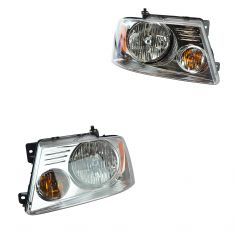 04-08 Ford F150 New Body; 06 Lincoln LT Headlight w/Bright Background PAIR (Ford)