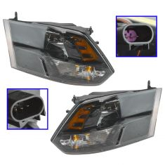 13-16 Ram 1500; 12 (fr 7/23/12)-13 2500; 12 (fr 7/23/12)-14 3500 Quad Halogen Blk Headlight PR (MP)