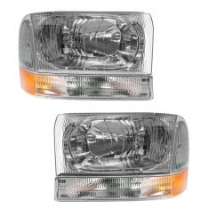 02-04 Ford Excursion SD Headlight with Clear Lens & Parking Signal Light Set of 4