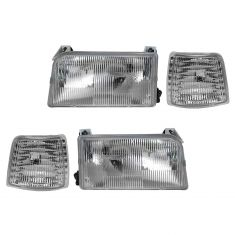 92-96 Ford Bronco, F150; 92-97 F250, F350 Headlight & Corner Light Kit (Set of 4)