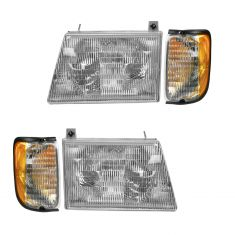 97-00 Ford Econoline Van Headlight & Corner Light Kit (Set of 4)