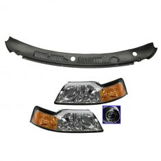 99-04 Ford Mustang Headlight w/Chrome Bezel Pair & 1 Piece Wiper Cowl Grille Set