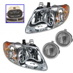 05-07 Chrysler T&C 113 Inch WB, Dodge Caravan; 05-09 Grd Caravan Headlight & Fog Light Kit(Set of 4)