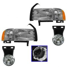 99-01 Dodge 1500, 99-02 2500/3500 (exc Sport) Headlight, Corner & Fog Light Kit