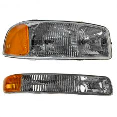 99-05 GMC Sierra Passenger Side Headlight & Marker Light Pair