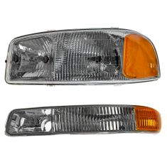 99-05 GMC Sierra Driver Side Headlight & Marker Light Pair