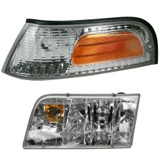 98-08 Crown Vic Headlight & Side Marker Light Set LH