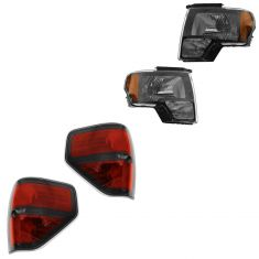09-14 Ford F150 SVT Raptor Black Bezel Headlight And Taillight PAIR (Ford)