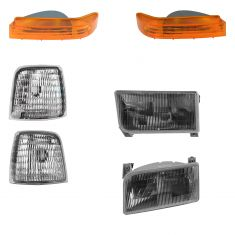 92-96 Bronco, F150; 92-97 F250, F350, F450 Headlight Globe, Signal, Marker Light Kit (Set of 6) (FD)