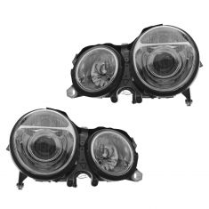 00-03 MB E320; 00-02 E430 Chrome Bezel Projector Halogen Performance Headlight PAIR