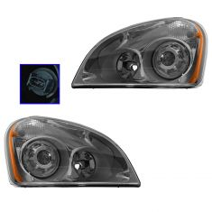 08-15 Freightliner Cascadia Performance Projector Style Headlight w/Chrome Bezel PAIR