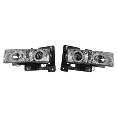 88-02 Chevy FS Pickup SUV Performance Chrome Bezel Halo Headlight Pair
