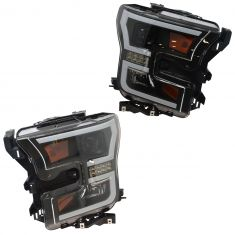 15-16 Ford F150 Performance Black Bezel Projector LED Bar Headlight Pair