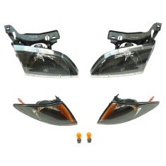 00-02 Chevy Cavalier Performance Black Bezel Headlight & Parking Light Kit (Set of 4)