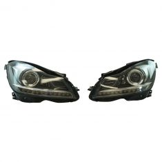 12-14 Mercedes C250, C300, C350, C63 AMG Perf Projector w/LED DRL & Blk Bezel Halogen Headlight PAIR