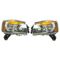 08-15 Nissan Titan Performance Black Bezel Headlight PAIR