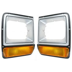 86-89 Dodge D/W 100; 86-90 D/W150, 250, 350, Ramcharger Silver Headlight Bezel w/Parking Light PAIR