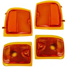 96-02 GMC Savana Van (w/Composite HL) Upper & Lower Side Marker Light (Grille Mtd) Kit (Set of 4)