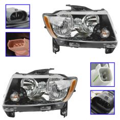 13-15 Jeep Compass Halogen Headlight Pair