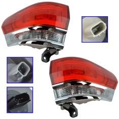 14-15 Jeep Grand Cherokee (exc SRT) Outer 1/4 Panel Mounted Taillight (w/Chrome Insert) Pair