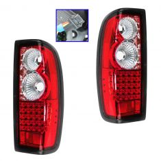 98-04 Nissan Frontier Performance Chrome LED Tail Lamp Pair