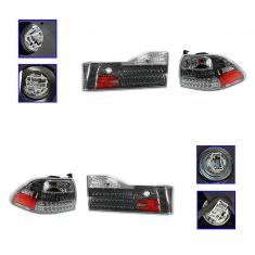 01-02 Honda Accord Sedan Performance LED Clear/Gun Metal Inner & Outer Taillight SET