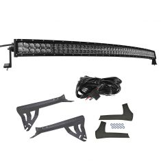 7-15 Jeep Wrangler Single 50 Inch Curved LED Light Bar Set w/ Mounting Bracket & Harness