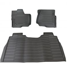 15-16 Ford F150 Crew Cab ~F150~ Logoed Molded Blk Rubber Tray Style Floor Mat Kit (Set of 3) (Ford)