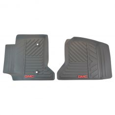 14-15 Sierra 1500; 15 2500, 3500 Mld Cocoa Rubber ~GMC~ Logoed Frt All Weather Floor Mat PAIR (GM)