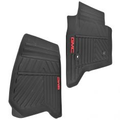 14-16 GMC Sierra Front All Weather Black Rubber Floor Mat Set w/ GMC Logo (GM