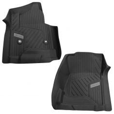 15-16 Sierra (w/o Man Shft TC) ~GMC~ Logoed Jet Black Tub Style Front Rubber Floor Liner PAIR (GM)
