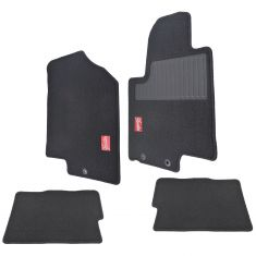 09-13 Kia Soul Red & Black Embroidered ~Hamster~ Logoed Black Carpeted Floor Mat Kit (Set of 4)