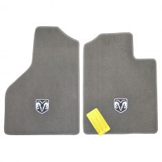 06-09 Ram 1500-3500 (Reg, Quad Cab) Embrd Rams Head Logo Khaki Carpeted Front Floor Mat PAIR (Mopar)