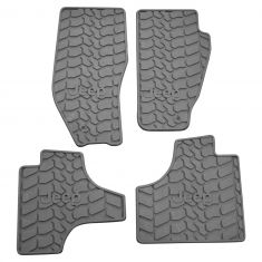 11-12 Jeep Liberty Mld Slate Gray Rubber ~Jeep~ Logoed Frt & Rear All Weather Slush Flr Mat SET (MP)