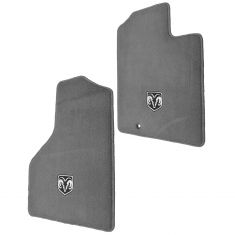06-10 Dodge Ram 1500-3500 Embroidered ~Rams Head~ Slate Gray Carpeted Front Floor Mat PAIR (Mopar)