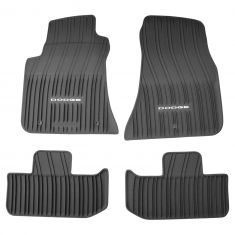 11-16 Dodge Challenger Molded Black Rubber ~ODGE~Logoed All Weather Floor Mat Kit (Set of 4) (MP)