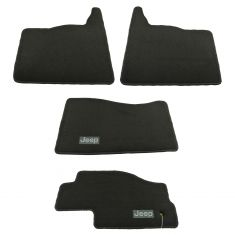 06-10 Commander; 05-10 Gr Cher Dark Khaki Carpeted ~Jeep~ Logo Frt & Rr Flr Mat Kit (Set of 4) (MP)