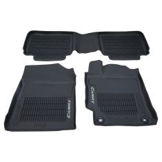 15-16 Camry Molded Black Rubber ~Camry~ Logoed Frnt & Rear All Season Floor Mats (Set of 3) (Toyota)