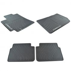 09-13 Toyota Corolla Molded Black Rubber ~COROLLA~ Logoed All Weather Floor Mat Kit (Set of 4)