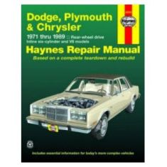 1971-89 Dodge Plymouth Chrysler Haynes Repair Manual for RWD Models
