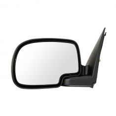 99-02 Chevy Silverado Blk & Chrome Power Mirror LH